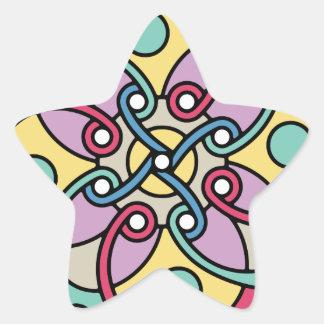Mirada loca del estilo travieso de la flor de pegatina en forma de estrella