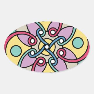 Mirada loca del estilo travieso de la flor de pegatina ovalada