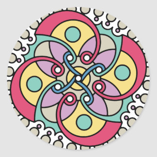 Mirada loca del estilo travieso de la flor de pegatina redonda