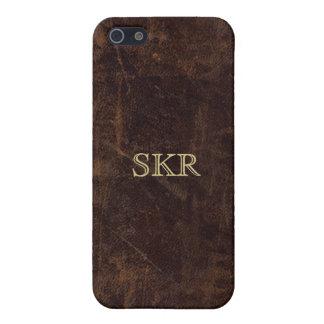 Mirada marrón del cuero del vintage iPhone 5 funda
