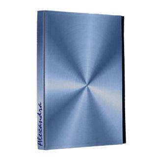 Mirada metálica azul del acero inoxidable del dise