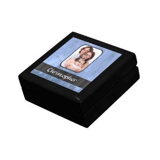 Mirada metálica azul oxidada caja de recuerdo
