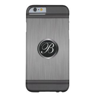 Mirada metálica de acero negra con monograma funda de iPhone 6 barely there