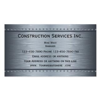 Mirada metálica de la construcción tarjetas de visita