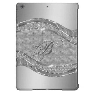Mirada metálica de plata con el modelo de los diam funda iPad air