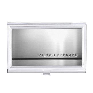 Mirada metálica de plata minimalista simple caja de tarjetas de visita