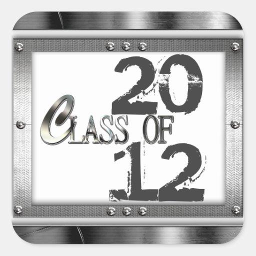 Mirada metálica pegatinas de la graduación de 2012 colcomanias cuadradas