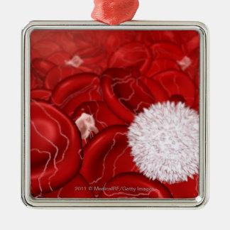 Mirada microscópica en los glóbulos adorno navideño cuadrado de metal
