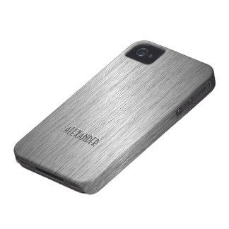 Mirada-Monograma de acero cepillado gris claro del iPhone 4 Case-Mate Cárcasas