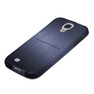 Mirada-Monograma de aluminio cepillado azul marino Funda Para Galaxy S4