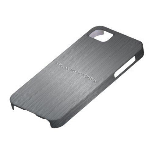 Mirada-Monograma de aluminio cepillado gris oscuro iPhone 5 Cárcasa
