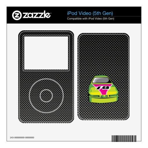 Mirada Nascar de la fibra de carbono Skins Para iPod Video 5G