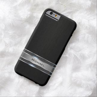 Mirada negra elegante de la etiqueta del cuero y funda barely there iPhone 6