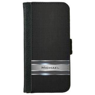 Mirada negra elegante de la etiqueta del cuero y funda cartera para iPhone 6