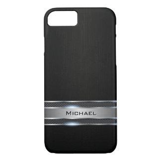 Mirada negra elegante de la etiqueta del cuero y funda iPhone 7