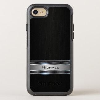 Mirada negra elegante de la etiqueta del cuero y funda OtterBox symmetry para iPhone 7