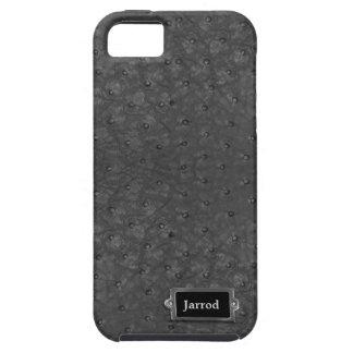 Mirada negra hermosa del cuero de la avestruz iPhone 5 carcasa