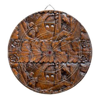 Mirada oriental de madera tallada tablero de dardos