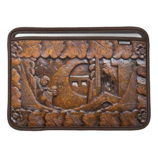 Mirada oriental de madera tallada funda para macbook air