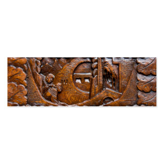 Mirada oriental de madera tallada plantilla de tarjeta de visita
