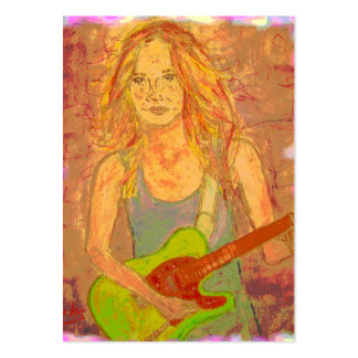 mirada popular de la serigrafía del chica de la ro plantillas de tarjetas personales