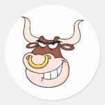 Mirada principal enojada de Bull Pegatinas Redondas