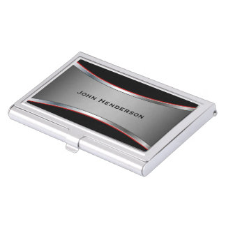 Mirada pulida lisa del cromo cajas de tarjetas de visita