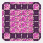 Mirada púrpura de la teja de mosaico calcomanías cuadradas