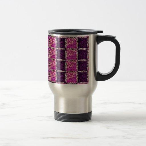 Mirada púrpura de la teja de mosaico tazas de café