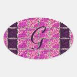 Mirada púrpura del mosaico calcomanía de oval
