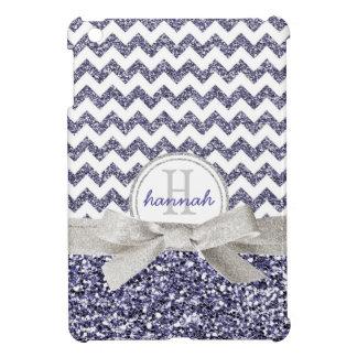 Mirada púrpura linda Chevron del brillo con el arc iPad Mini Protectores