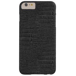 Mirada realista negra de la piel del cocodrilo funda para iPhone 6 plus barely there