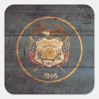Mirada resistida bandera de Utah Pegatina Cuadrada