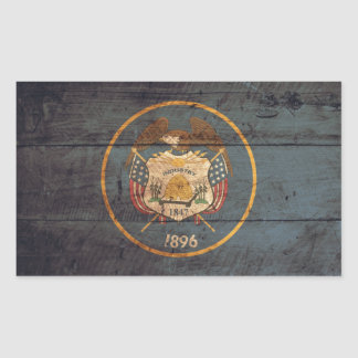 Mirada resistida bandera de Utah Pegatina Rectangular