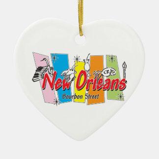Mirada retra de New Orleans Adorno De Cerámica En Forma De Corazón