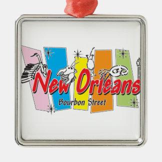 Mirada retra de New Orleans Adorno Cuadrado Plateado