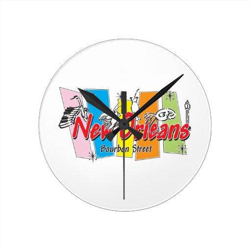 Mirada retra de New Orleans Reloj Redondo Mediano