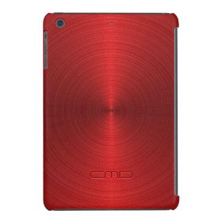 Mirada roja metálica brillante del acero funda de iPad mini