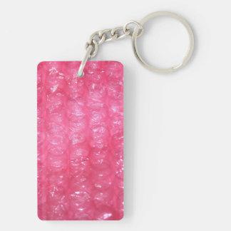 Mirada rosada del plástico de burbujas de la llavero rectangular acrílico a doble cara