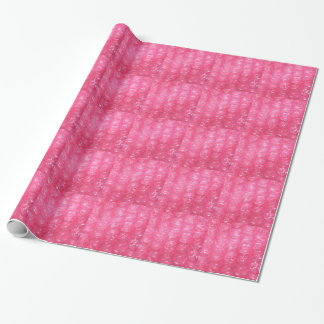 Mirada rosada del plástico de burbujas de la papel de regalo