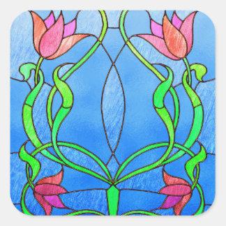 Mirada rosada del vitral de los tulipanes