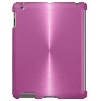 Mirada rosada metálica del acero inoxidable del fo funda para iPad