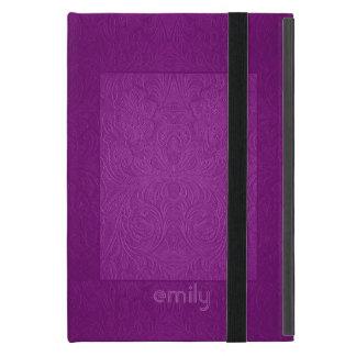 Mirada rosada púrpura del ante del diseño floral iPad mini protector