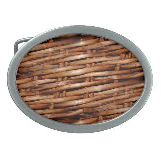 Mirada rugosa de la cesta de mimbre hebilla de cinturon oval