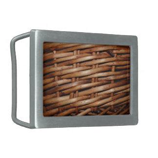 Mirada rugosa de la cesta de mimbre hebillas de cinturon rectangulares