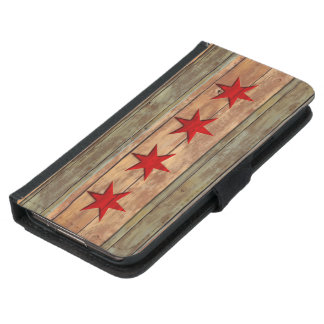 Mirada tallada madera de la bandera de Chicago del