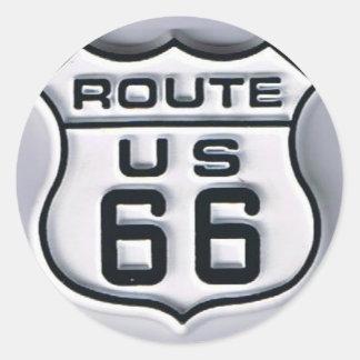 Mirada tridimensional de la ruta 66 pegatina redonda
