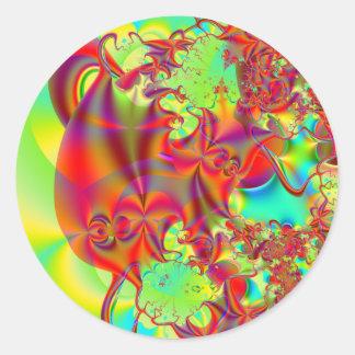 Mirador II · Arte del fractal · Rojo y verde Etiqueta Redonda