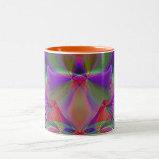 Mirage 5 Glowing Rainbow Abstract Two-Tone Coffee Mug