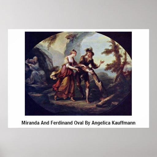 Miranda And Ferdinand Oval By Angelica Kauffmann Print